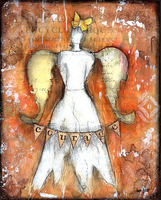Courage angel 8x10 mixed media original on wood