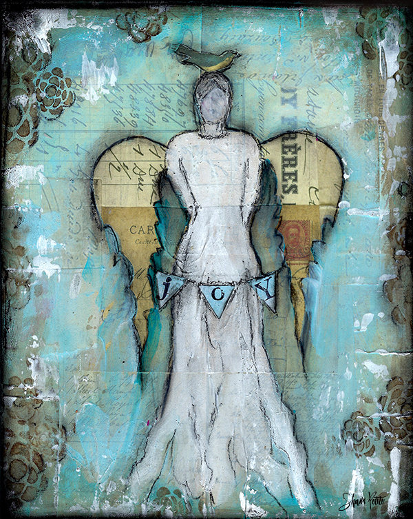 """Joy Angel"" Print on Wood and Print to be Framed"