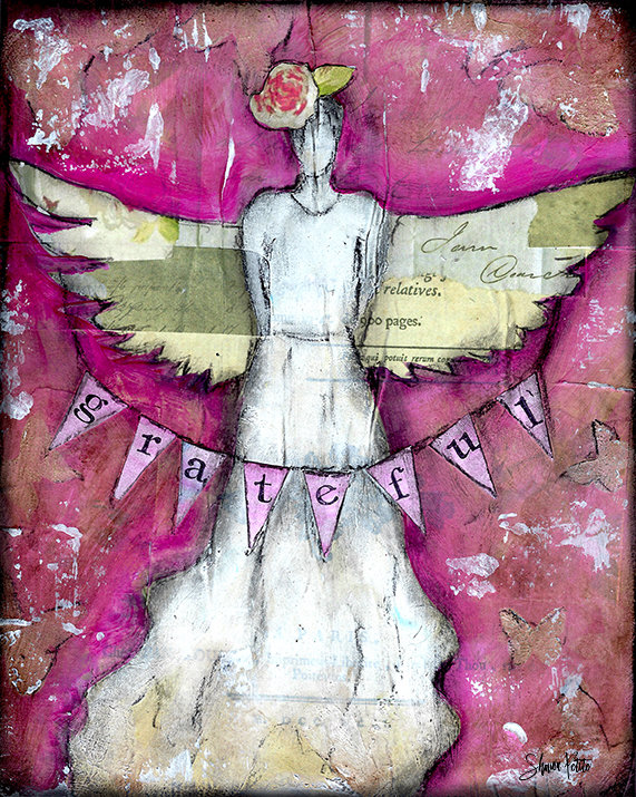 Grateful angel 8x10 mixed media original on wood