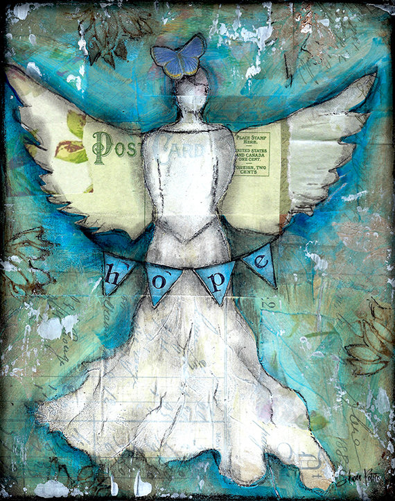 Hope angel 8x10 mixed media original on wood