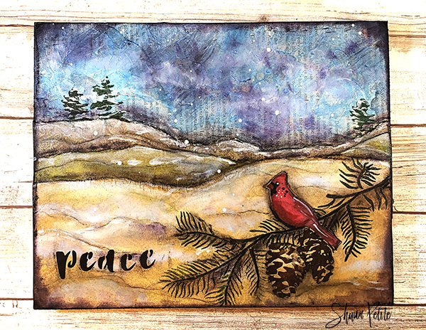 Peace cardinal mixed media original on wood 8x10