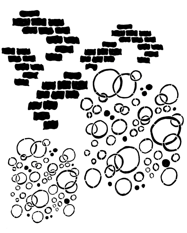 Bricks and bubbles stencil