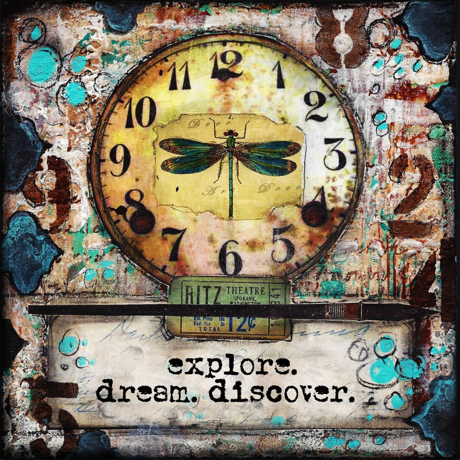 Explore, dream, discover print of the original on wood