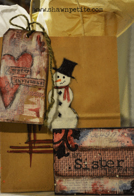 Holiday Gifts - snowman bag, tag and piece of art Tutorial