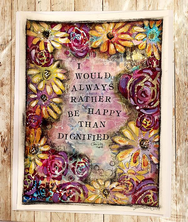 I'd rather be happy original on 100 lb bristol paper