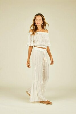 Surf Gypsy Ivory Sequin Ruffle Pant