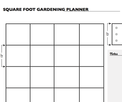 Square Foot Gardening Planner Worksheet