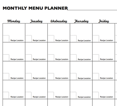 Monthly Meal Plan Worksheet  Free Menu Planner Template
