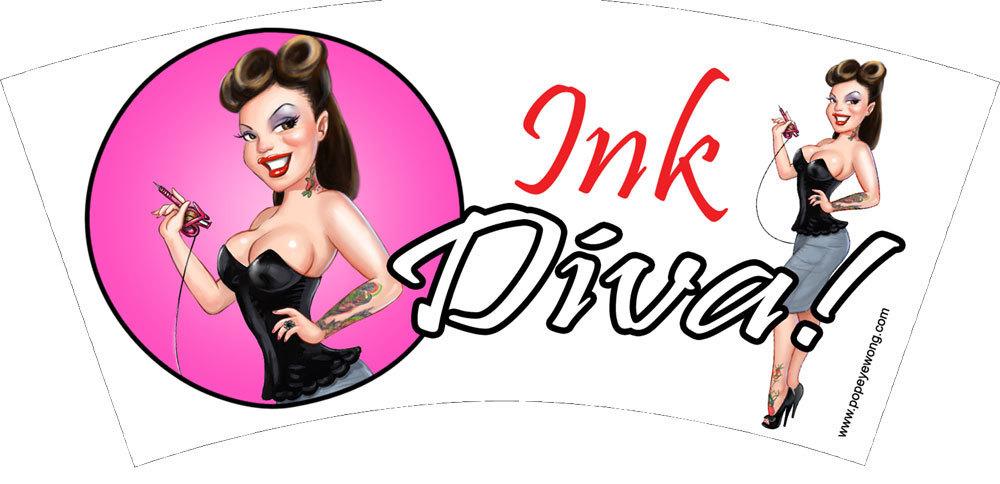 "Ink Diva (2 oz shot glass). ""Embedded ideas"""