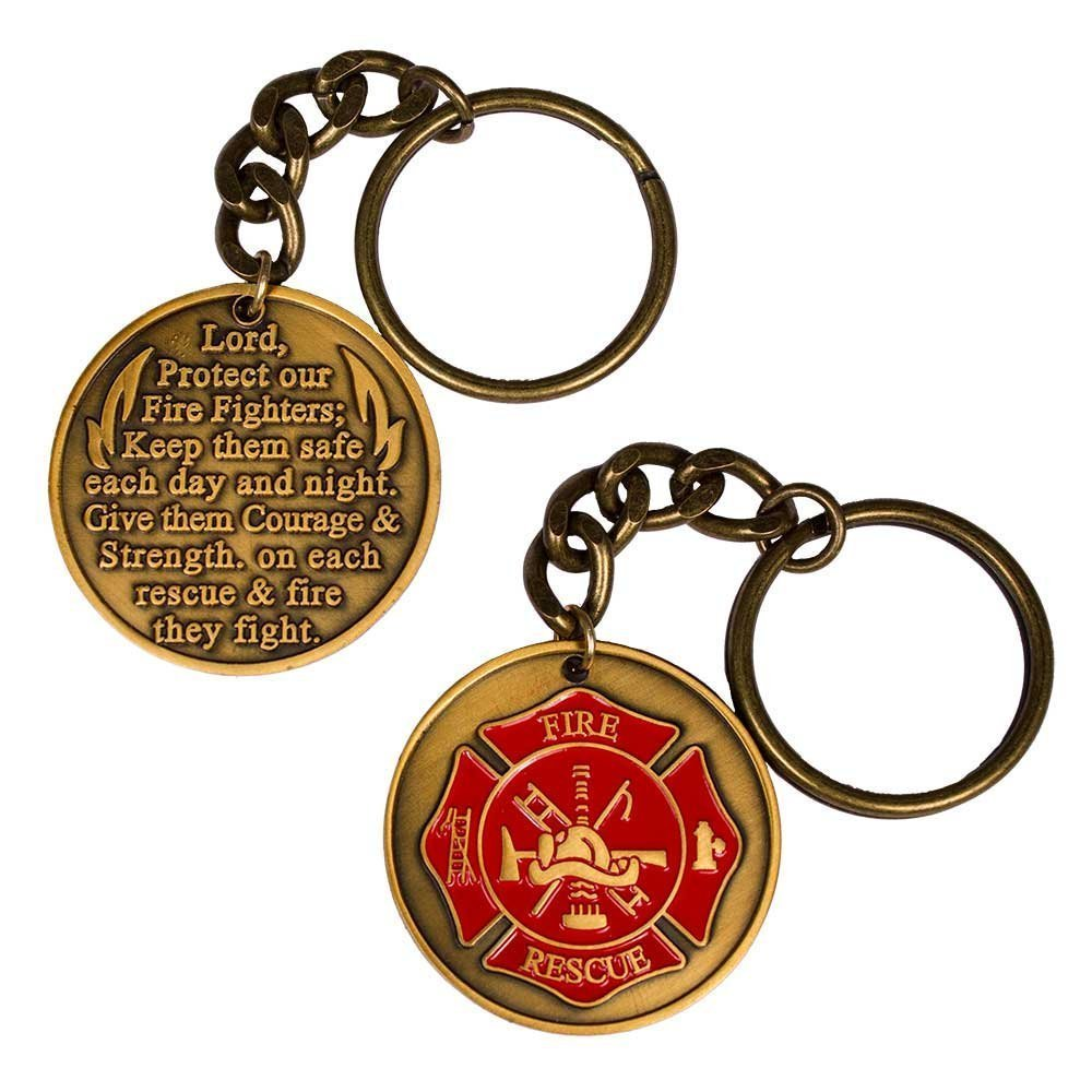 Firefighter Fireman Fire Department Prayer Keychain Gold Maltese Cross 00000