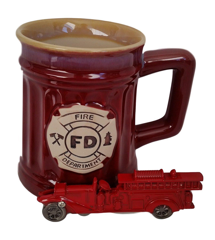 Firefighters Gifts For Men or Women - Burton & Burton Fireman Mug & KN Firetruck Pocket Knife Bundle 00002