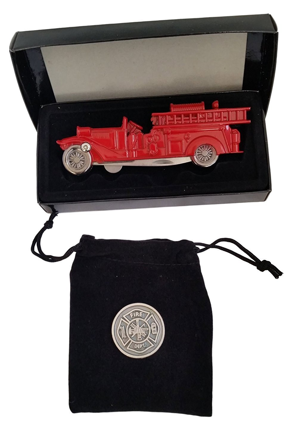 Firefighters Gifts For Men or Women - Firemans Gifts of Prayer Coin & Firetruck Pocket Knife Bundle 00003