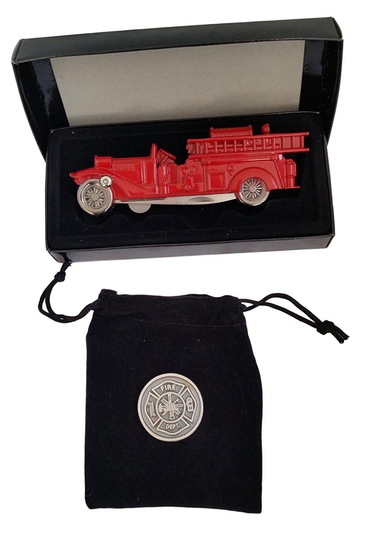 Firefighters Gifts For Men or Women - Firemans Gifts of Prayer Coin & Firetruck Pocket Knife Bundle 00003