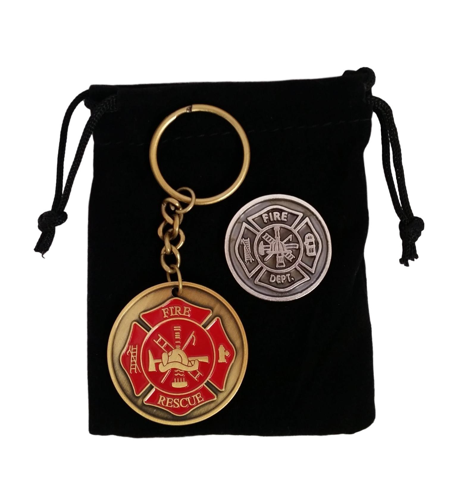 Firefighter Gifts for Men - Maltese Cross Firefighter Prayer Coin & Fireman Key Chain with Black Velvet Gift Pouch CS650FIREKEYCOIN