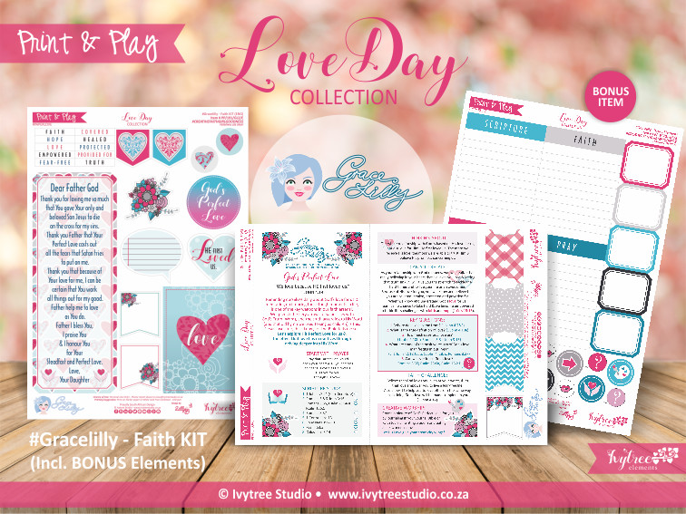 PP/191/GL - Print&Play - GRACELILLY - Love Day Faith Kit with Devotional Content, Faith Sentiments and Bonus Journal Elements - Incl. Eng + Afr kits