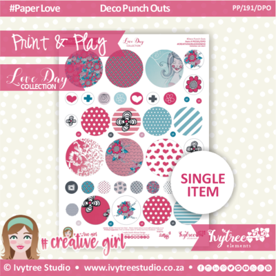PP/191/DPO - Print&Play - CUTE CUTS - Deco Punch Outs - Love Day Collection