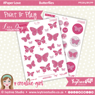 PP/191/BF/PP - Print&Play - CUTE CUTS - Butterflies/Passion Pink - Love Day Collection