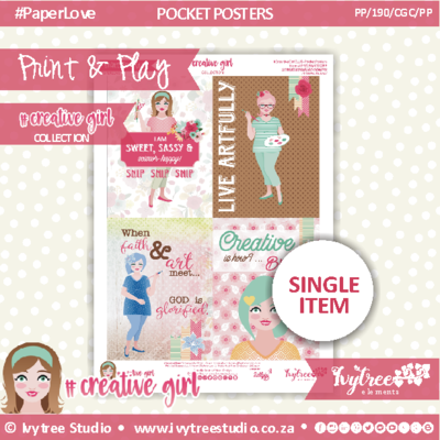 PP/190/CGC/PP - Print&Play - PRETTY POCKET CARDS - Pocket Posters - Creative Girl Collection