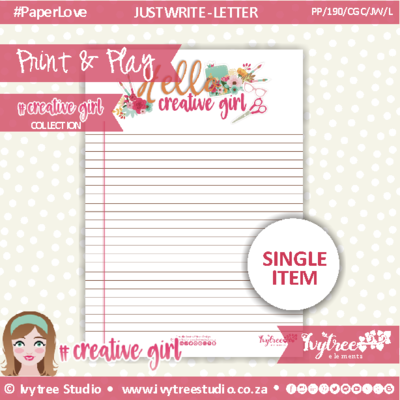 PP/190/CGC/JW/L - Print&Play - JUST WRITE - LETTER - Creative Girl Collection