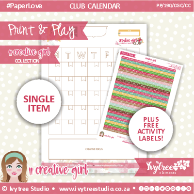 PP/190/CGC/CC - Print&Play - PLAN IT - CLUB CALENDAR - Creative Girl Collection + FREE activity labels