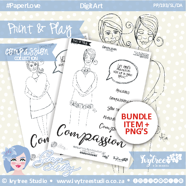 PP/19/GL/DK - Print&Play - GRACELILLY FAITH ART - DIGI ART AND DEVO KIT - COMPASSION Collection (Black&White elements) - incl. English & Afrikaans PDF's + PNG stamps