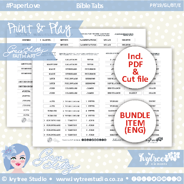 PP/19/GL/BT - Print&Play - GRACELILLY FAITH ART - Bible tabs - (Black&White elements) - incl. English ONLY (Afrikaans coming soon) PDF's + FREE Silhouette cut files