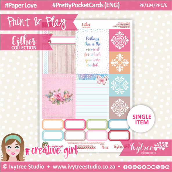 PP/194/PPC - Print&Play - PRETTY POCKET CARDS - Variety (Eng/Afr) - Esther Collection