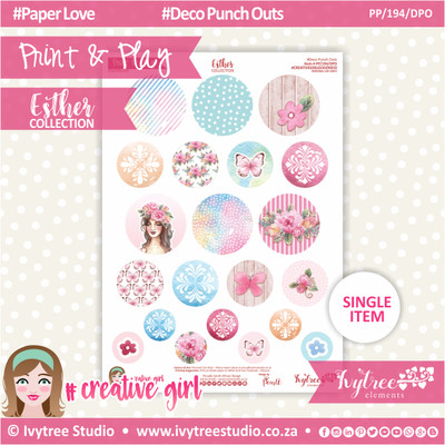 PP/194/DPO - Print&Play - CUTE CUTS - Deco Punch Outs - Esther Collection