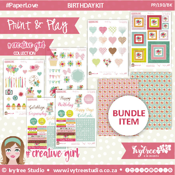 PP/190/BK - Print&Play - BIRTHDAY KIT - CUTE CUTS - xxx - Creative Girl Collection