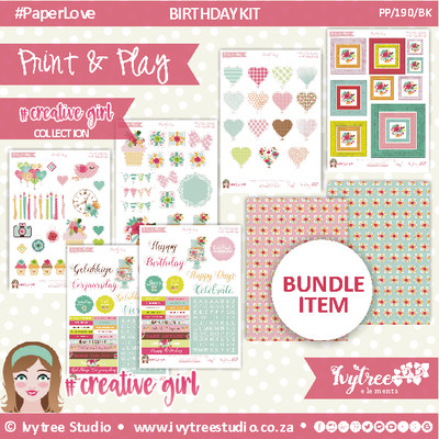 PP/190/BK - Print&Play - BIRTHDAY KIT - CUTE CUTS - xxx - Creative Girl Collection