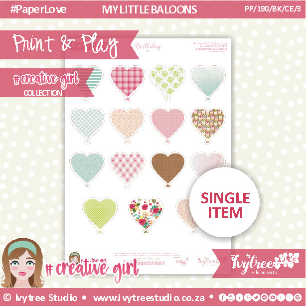 PP/190/BK/CE/3 - Print&Play - BIRTHDAY KIT - CUTE CUTS - Creative Elements (3)  - Creative Girl Collection