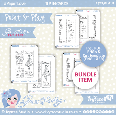 PP/19/GL/TI/1 - PRINT&PLAY - GraceLilly Tip-In Set - Incl. PNG, PDF, Cut template and Eng+Afr