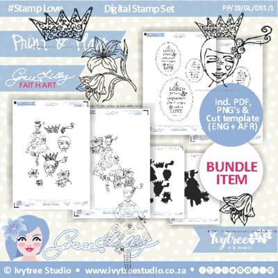 PP/19/GL/DSS/1 - PRINT&PLAY - GraceLilly Digital Stamp Set PLUS NEW Tip-in bundle (Fully Loaded bundle)- Incl. PNG Stamps, PDF's, PNG Print&Cut template in Eng+Afr