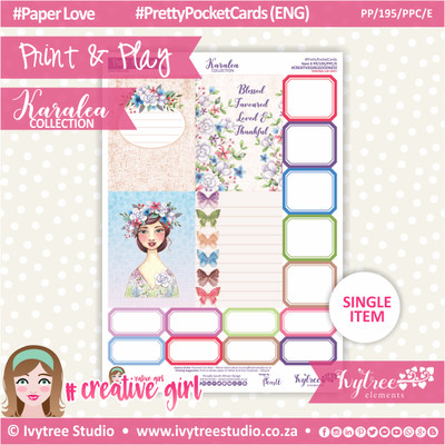 PP/195/PPC - Print&Play - PRETTY POCKET CARDS - Variety (Eng/Afr) - Karalea Collection
