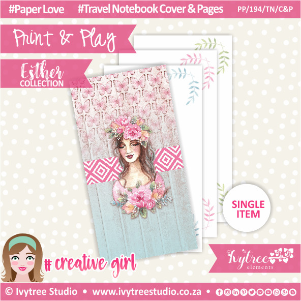 PP/194/TN/C&P - Print&Play - Travel Notebook - Cover&Pages - Esther Collection