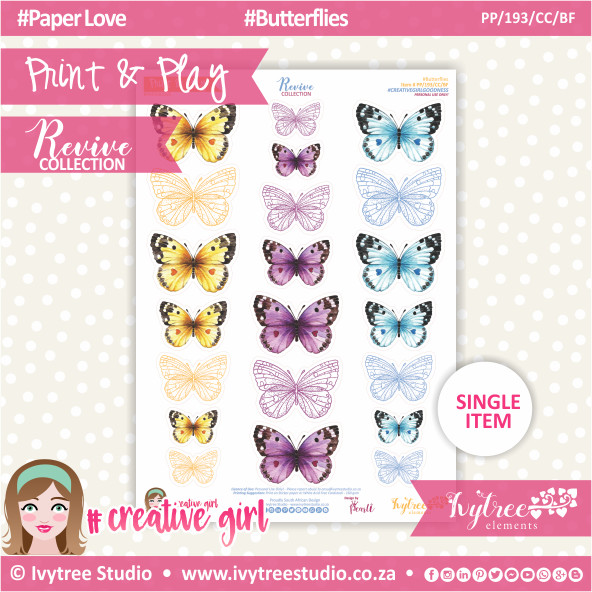 PP/193/CC/BF - Print&Play - CUTE CUTS - Butterflies - Revive Collection