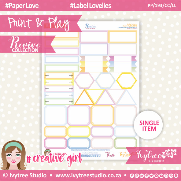 PP/193/CC/LL - Print&Play - CUTE CUTS - Label Lovelies - Revive Collection