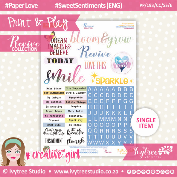 PP/193/CC/SS - Print&Play - CUTE CUTS - Sweet Sentiments (Eng/Afr) - Revive Collection