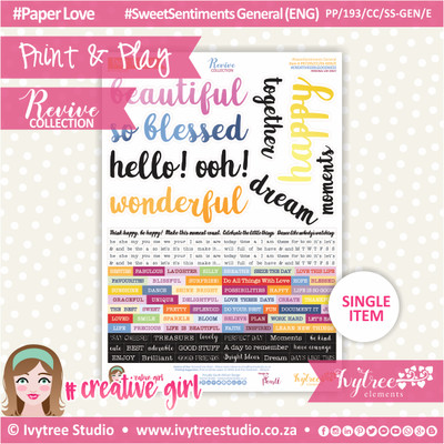 PP/193/CC/SS-GEN - Print&Play - CUTE CUTS - Sweet Sentiments General (Eng/Afr) - Revive Collection