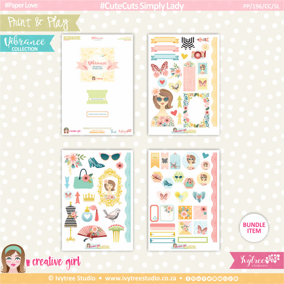 PP/196/CC/SL - Print&Play - CUTE CUTS - Simply Lady - Vibrance Collection