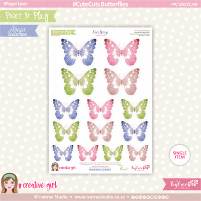 PP/198/CC/BF - Print&Play - CUTE CUTS - Butterflies - OurStory Collection