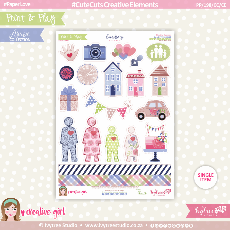 PP/198/CC/CE - Print&Play - CUTE CUTS - Creative Elements - OurStory Collection