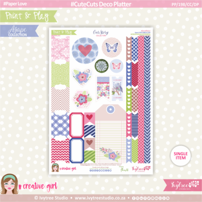 PP/198/CC/DP - Print&Play - CUTECUTS - Deco Platter - OurStory Collection