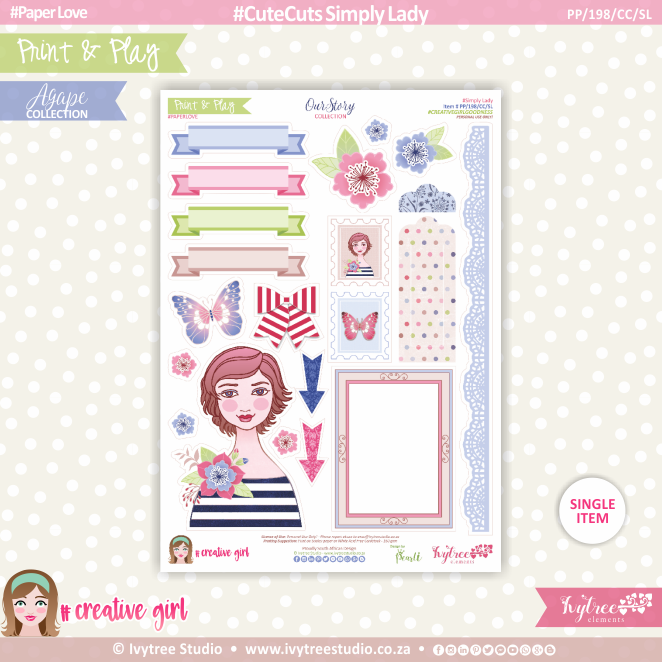 PP/198/CC/SL - Print&Play - CUTE CUTS - Simply Lady - OurStory Collection