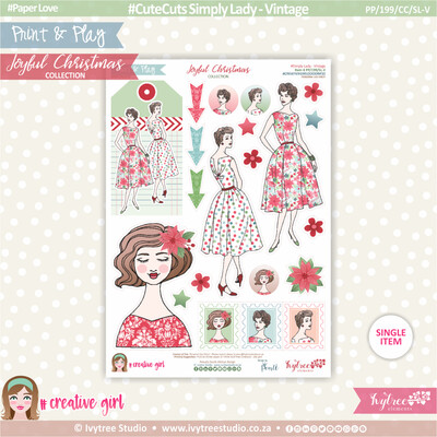 PP/199/CC/SL-V - Print&Play - CUTE CUTS - Simply Lady - Vintage - Joyful Christmas Collection