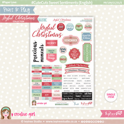 PP/199/CC/SS - Print&Play - CUTE CUTS - Sweet Sentiments (Eng/Afr) - Joyful Christmas Collection