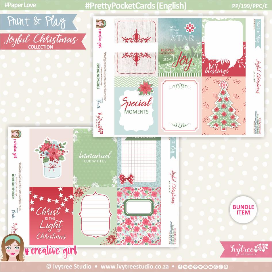 PP/199/PPC - Print&Play - PRETTY POCKET CARDS - (Eng/Afr) - Joyful Christmas Collection