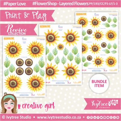 PP/193/CC/FS-LF/1-3 - Print&Play - CUTE CUTS - Flower Shop-Layered Flowers - Revive Collection