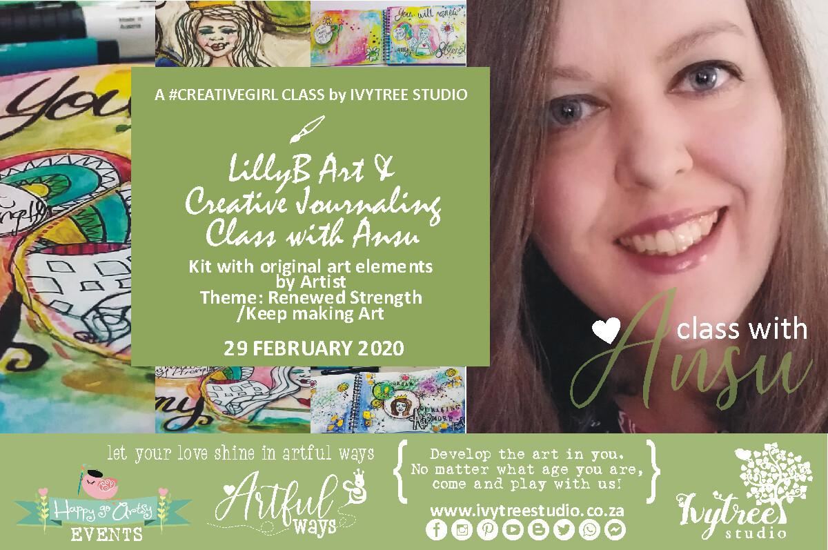 LillyB Art Journaling Monthly Class with Ansu - Next Class: 21 March 2020 8:00-11:00 AM -  Original ArtbyAnsu elements & class kit incl.
