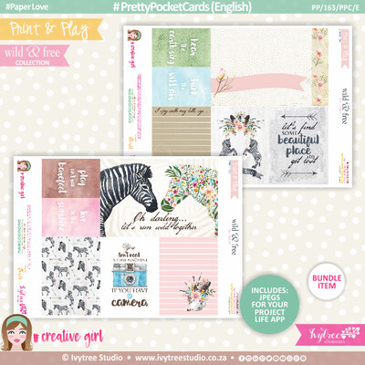 PP/163/PPC - Print&Play - PRETTY POCKET CARDS - (Eng/Afr) - Wild&Free Collection - NEW: Now with Jpg's for Project Life App!!